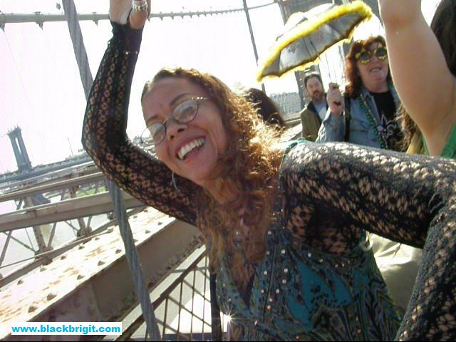 Lilith Dorsey in a Second Line over the Brooklyn Bridge